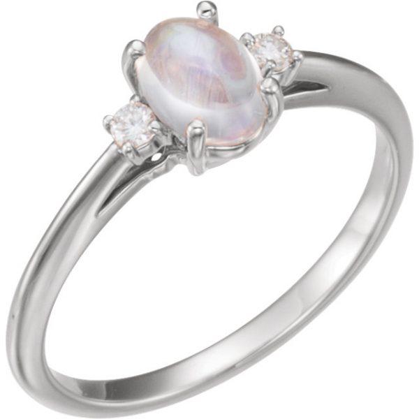 anillo de compromiso Montura con acentuaciones de diamante en los brazos- 1 en cada brazo Oro de 14 K Blanco, Rosa, Amarillo con piedra Moonstone. - Anillos de compromiso en Monterrey