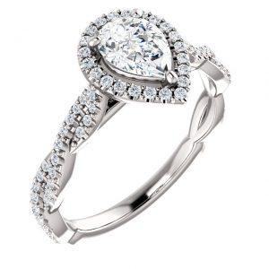 Halo Interlocked Infinity Diamond Ring- Anillos de compromiso en Monterrey