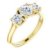 Three stone wave Accented Diamond Ring- Anillos de compromiso en Monterrey